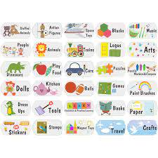 Amazon Com Mozamy Creative Kids Toy Room Organization Labels Toy Bin Labels Toy Labels Toy Storage Stickers Playroom Decals Toddler Stickers School Aged Kids Wall Decals Baby