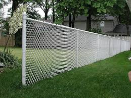 White Vinyl Coated Chain Link Fence By Elyria Fence