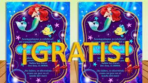 Invitacion La Sirenita Ariel Princesa Gratis Todo Gratis Para