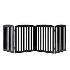Freestanding Wooden Pet Gate 4 Panel Foldable Fence Brown Auspoints Com Au