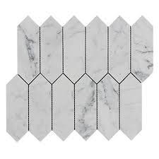 Carrara White Marble Picket Mosaic Tile Honed