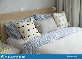 Pink And Blue Blanket With Creative Pillows On Bed In Colorful Kids Room Stock Image Image Of Cute Header 127437521