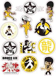 Amazon Com 12pcs Lot Cartoon Bruce Lee Kung Fu Sticker Skateboard Snowboard Luggage Car Bike Waterproof Diy Pvc Stickers For Kids Toys Kitchen Dining