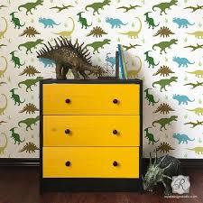 Jurassic Park Dinosaurs Wall Mural Stencils For Kids Room Or Nursery Royal Design Studio Stencils