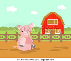 Cute Pig Farm Animal Rural Landscape With Wooden Fence And Barn Vector Illustration Web Design