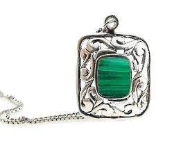com malachite necklace bezel