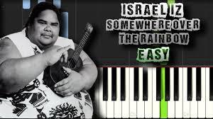 Israel IZ Kamakawiwo'ole - Somewhere over the Rainbow EASY Piano ...
