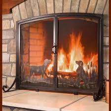 large retriever dogs fireplace screen