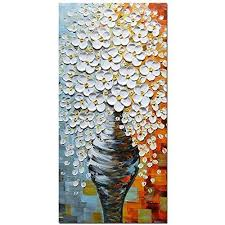 abstract white flowers vase canvas art