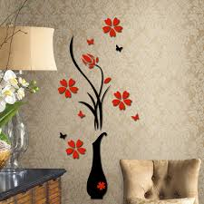 New 3d Plum Vase Wall Stickers Home Decor Creative Wall Decals Free Shipping Fuli Creative Home Decor Olivia Decor Decor For Your Home And Office