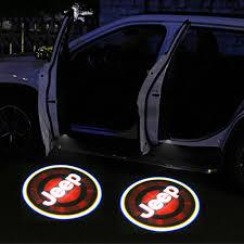 4pcs Jeep Door Lights Logo Universal Wireless Jeep Door Light Projector Cool Car Door Logo Projector Lights For Jeep All Models Led Logo Door Lights For Jeep All Accessories For Cars