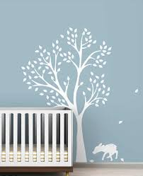 Monochromatic Fawn Tree Wall Decals White Tree Decals For Kids Baby Room Nursery Wall Decor Vinyl Wall Art Stickers Murals A227 White Tree Decal Tree Wall Decalwall Decals Aliexpress
