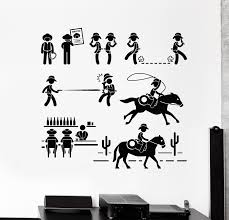 Vinyl Wall Decal Western Movie Criminal Sought Cowboy Texas Stickers M Wallstickers4you
