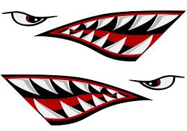 Alemon Shark Teeth Mouth Reflective Decals Sticker Fishing Boat Canoe Car Truck Kayak Graphics Accessories Kayak Decals Reflective Decals Kayaking