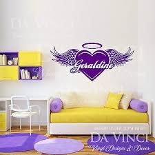 Personalized Heart Wings Angel Aureola Custom Name Vinyl Wall Decal Sticker Deco Ebay