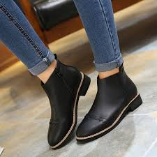 synthetic leather side zip ankle boot