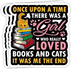 Amazon Com Peach Poem Once Upon A Time There Was A Girl Loved Books Cats 4x3 Vinyl Stickers Laptop Decal Water Bottle Sticker Set Of 3 Home Kitchen