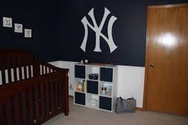 New York Yankee Logo Wall In Emmett S Room Yankee Room Yankee Bedroom Ny Yankees Nursery