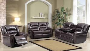 reclining sofa in brown bonded leather