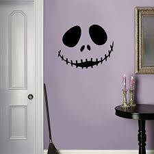 Vinyl Wall Art Decal Jack Skellington Inspired Face 17 X 22 Fun Halloween Seasonal