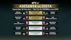 UFC 253 Main Card : MMA