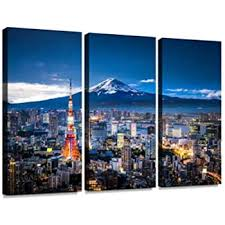 Amazon Com Belisiis Mt Fuji And Tokyo Skyline Tourisms And Pictures Wall Artwork Exclusive Photography Vintage Abstract Paintings Print On Canvas Home Decor Wall Art 3 Panels Framed Ready To Hang Posters
