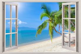 New Large 3d Home Decor Mural Valley Window View Wall Art Stickers Vinyl Decal Beach Wall Decals Wall Decals Tree Wall Decal