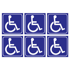 6 Pack Handicap Wheelchair Vinyl Laminated Stickers 3 X 3 Inch Ada Compliance Handicapped Accessible Placard Sign Perfect For Restroom Bathroom Entrance Door Vans Cars Motorcycle Ramps Reserved Amazon Com Industrial Scientific