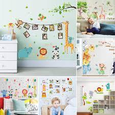 Cartoon Animals Lion Monkey Elephant Jungle Theme Wall Sticker For Kids Rooms Growth Chart Nursery Room Decor Wall Art Wall Stickers Aliexpress
