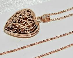 9ct rose gold on silver filigree heart
