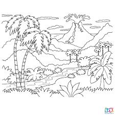 Leuk Voor Kids Een Uitbarstende Vulkaan Op De Achtergrond