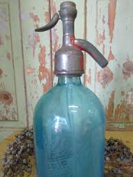 old french seltzer bottle in blue