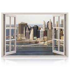 Realistic New York Poster Window Wall Decal Peel And Stick Urban Decor For Living Room Bedroom