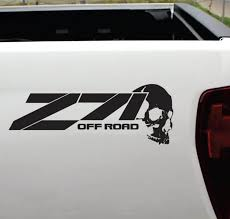 Chevy Z 71 Off Road Skull Sticker Set Of 2 4 4 Decals Custom Sticker Shop