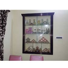 glass wall mounted wooden showcase