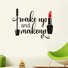 Beauty Salon Wall Stickers Wake Up And Makeup Quote Wall Decals Make Up Wall Art Lips Decal Sticker Lipstick Brushes Girls Room Decor Wish