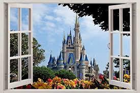 Disney Castle 3d Window Effect Decal Wall Sticker Mural Disney For Chi Walldecals Com