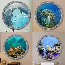 3d Wall Stickers Dolphin Turtle Sea Lions Clownfish Ocean Animals Wall Sticker Decals Vinyl Mural Room Decor Machine Decoration Wish