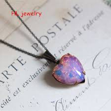 pink coloured glaze opal heart pendant