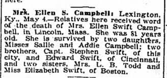 Ellen Swift Campbell Death - Newspapers.com