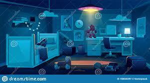 Child Bedroom For Boy At Night Time Dark Room Stock Vector Illustration Of Empty Bedroom 158046397