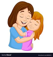 mother hugging her daughter vector image