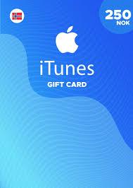 apple itunes gift card 250 nok for