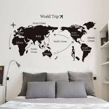 Best Deal Fe95b World Map Airplane Around Wall Stickers For Living Room Home Background Art Decoration Vinyl Wallpaper Art Poster Lw354 Cicig Co