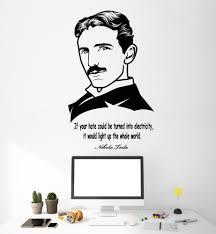 Vinyl Wall Decal Clever Scientist Nikola Tesla Quote Science School St Wallstickers4you