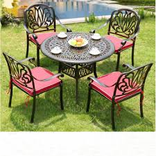 cast aluminum outdoor dining table set