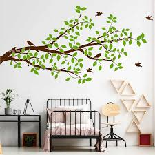 Diy Self Sticking Tree Branch Wall Decals For Living Room Branches Leaves Birds Vinyl Sticker Art Baby Nursery Home Decor Lc1327 Wall Stickers Aliexpress