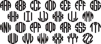 Circle Monograms Vinyl Decal Sticker