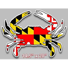 Amazon Com Maryland Flag Blue Crab Decal Large 14 5 X 20 Vinyl Sticker For Truck Car Window Cornhole Board Decal Automotive