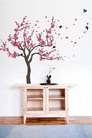 Amazon Com Japanese Cherry Blossom Tree And Birds Wall Decal Sticker For Flower Baby Nursery Room Decor Art Red Pink 38x59 Inches Home Kitchen